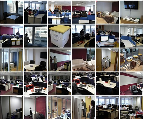 Montage of photos of the office for the first job