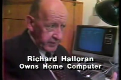 "Still from news report: ""Richard Halloran: Owns home computer"""