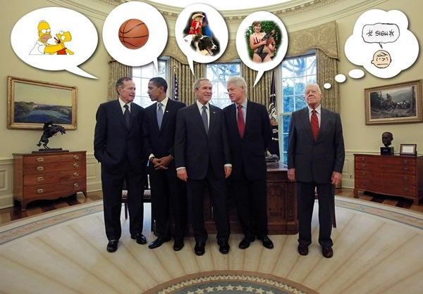 George H.W. Bush, Barack Obama, George W. Bush, Bill Clinton and Jimmy Carter in the Oval Office