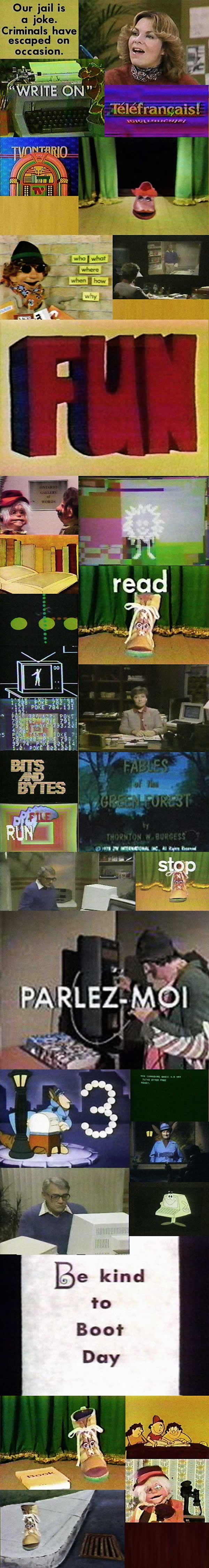 Montage of stills from TVOntario's educational shows from the late 1970s and early 1980s.