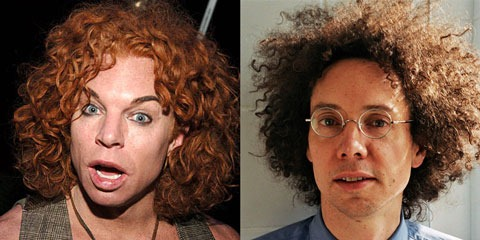 Carrot Top and Malcom Gladwell, side by side