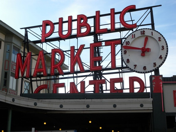 """Public Market Center"" sign in Seattle"
