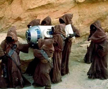 "Jawas carrying R2-D2 in ""Star Wars Episode IV: A New Hope"""