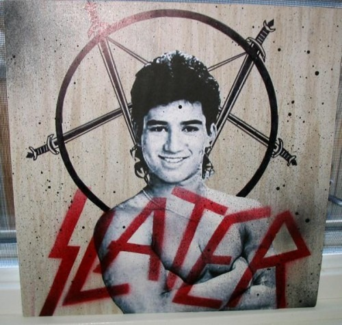 """Slater"" logo: the ""Slayer"" logo featuring ""Slater"" from ""Saved By the Bell"""