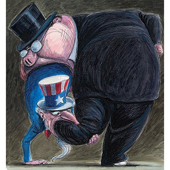 Pig in suit and top hat devouring Uncle Sam whole as he tries to devour its leg