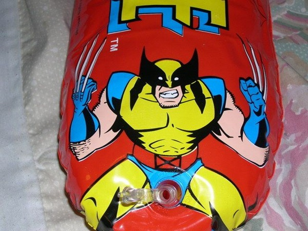 Wolverine inflatable toy with unfortunately-located nozzle