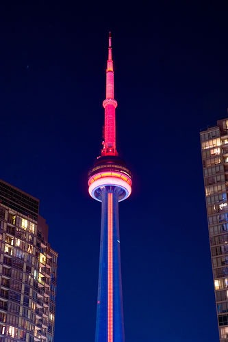 CN Tower, glowing and pink