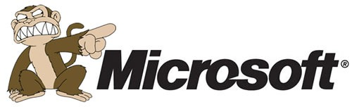 "Microsoft logo with the evil monkey from ""Family Guy"""