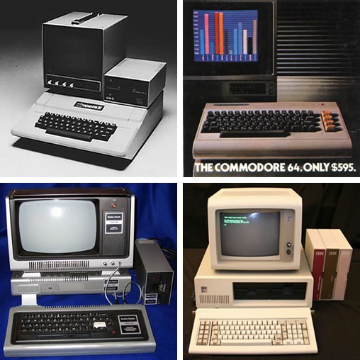 80s-era computers: Apple ][, Commodore 64, TRS-80 and IBM PC