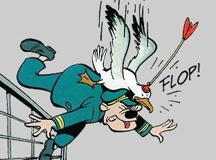 Albatross, shot with a sucker-dart arrow, falls on the head of a Disney-esque cartoon character