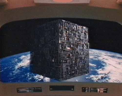 A Borg cube, as seen from the main screen on the U.S.S. Enterprise.