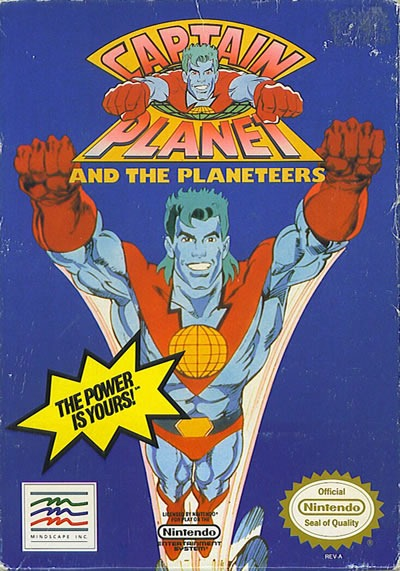 "Package for the Nintendo game ""Captain Planet and the Planeteers"""