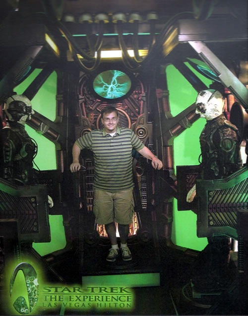 """Guy in shorts and golf shirt in a Borg chamber at """"Star Trek: the Experience"""""""