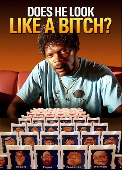 "Samuel L. Jackson on the other side of a ""Guess Who?"" game: ""Does he look like a bitch?"""
