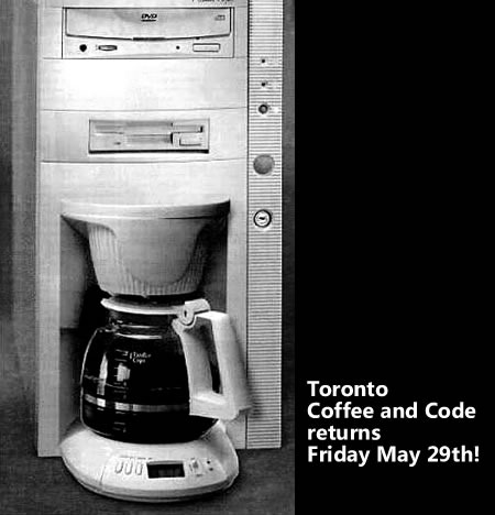 "Coffee machine embedded in ""tower"" computer enclosure: ""Toronto Coffee and Code Returns Friday May 29th!"""