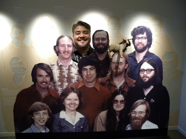 Joey deVilla with cardboard cutouts of Microsoft's 1978 team