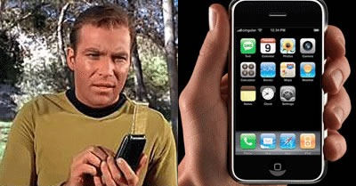 Captain Kirk, his communicator and the iPhone