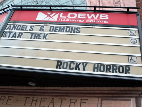 "Loews Harvard Square marquee showing the movies ""Angels and Demons"", ""Star Trek"" and ""Rocky Horror"""