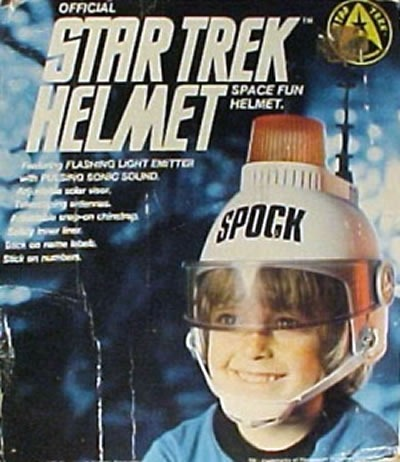 """Toy package: """"Official Star Trek Helmet"""" with siren on top, emblazoned with """"SPOCK"""" in large letters"""
