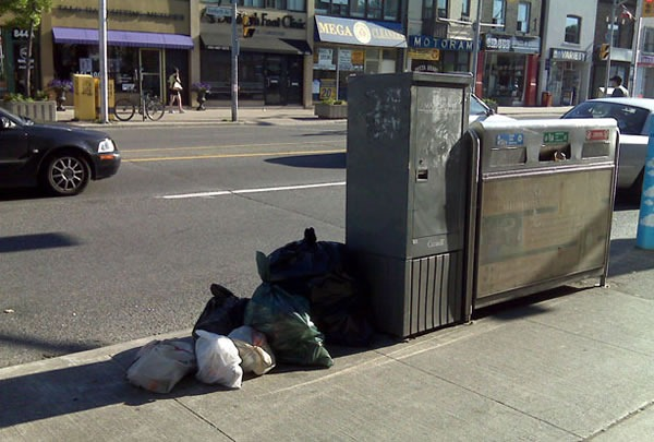 Photo: Small trash bags dropped off on Toronto street