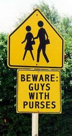 """School crossing"" sign marked: ""Beware: Guys with Purses"""