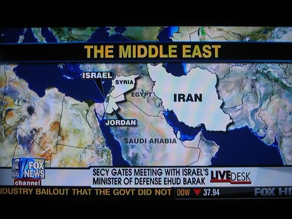FOX News' map of the middle east, putting Egypt where Iraq is.