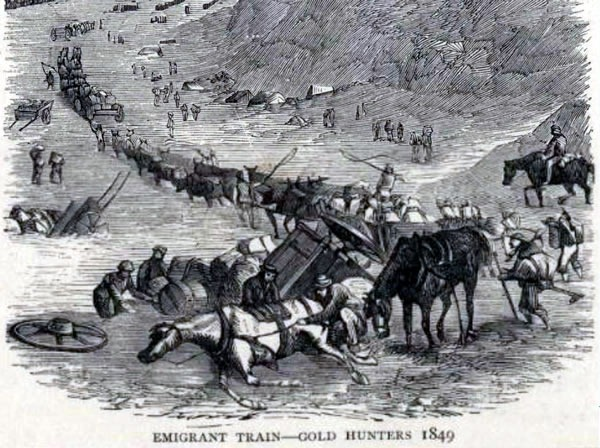 "Etching: ""Emigrant Train - Gold Hunters 1849"""