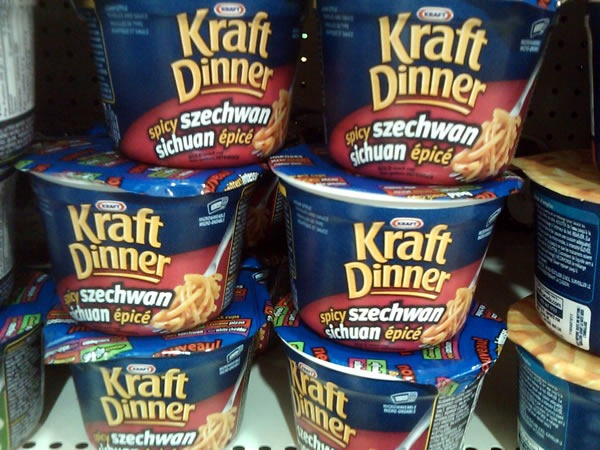"Packages of ""Kraft Dinner Spicy Szechwan"""