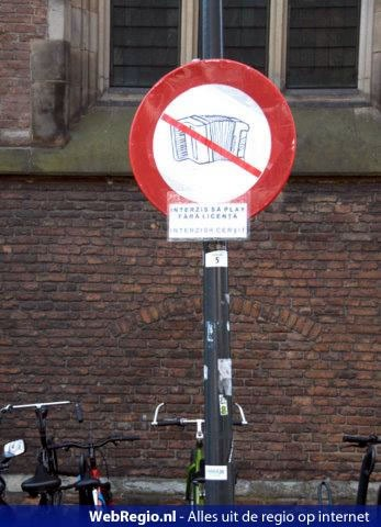 Sign banning accordion playing