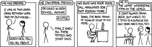 "XKCD comic on ""The Least Interesting Man in the World"""