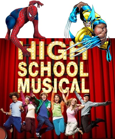 "Spider-Man, Wolverine and the cast of ""High School Musical"""