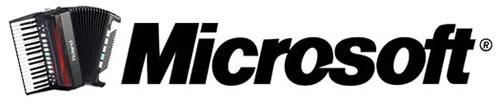 Microsoft logo with accordion