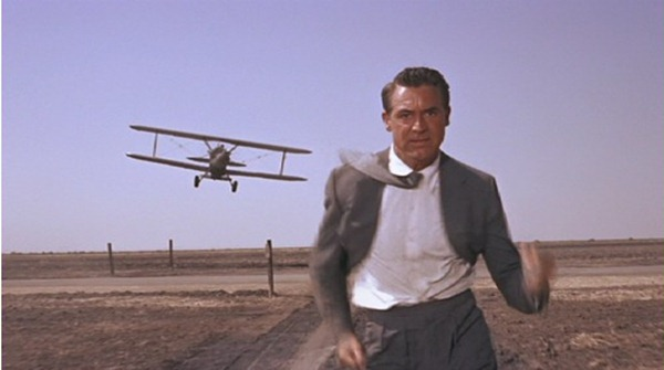 "The ""Jimmy Stewart running from the crop duster"" scene in ""North by Northwest"""