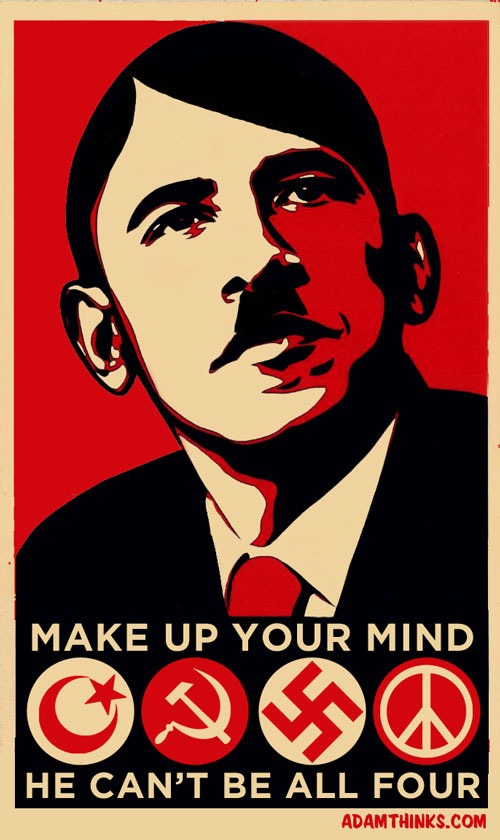 "Adam Sack's poster featuring a Shepard Fairey-ized Obama-as-Hitler poster:  ""Make Up Your Mind / He Can't Be All Four"""