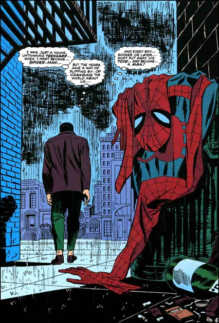 Peter Parker in an alley, walking away from the Spider-Man costume he just dumped in the trash