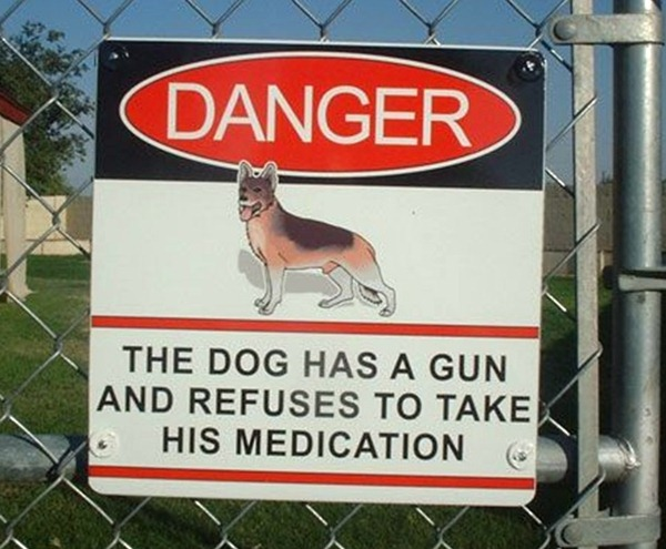 "Sign: ""Danger - The dog has a gun and refuses to take his medication"""