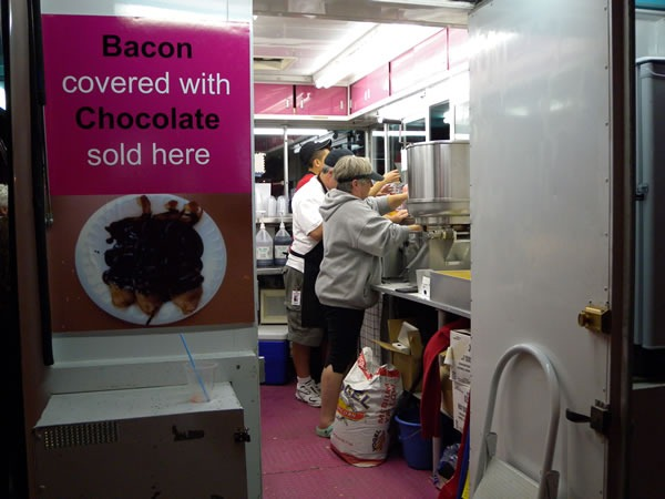 "Food stall on the Midway at the CNE: ""Bacon covered with Chocolate sold here"""