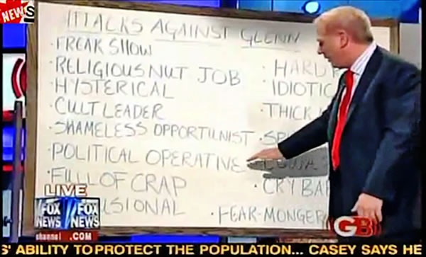 "Glenn Beck in front of his whiteboard, listing ""Attacks Against Glenn"""