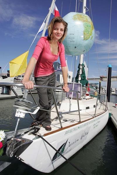 Jessica Watson aboard her boat