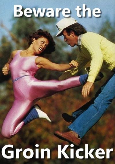 Beware the Groin Kicker: Woman in pink 1980s Danskins kicking a man dressed for golf in the midsection.
