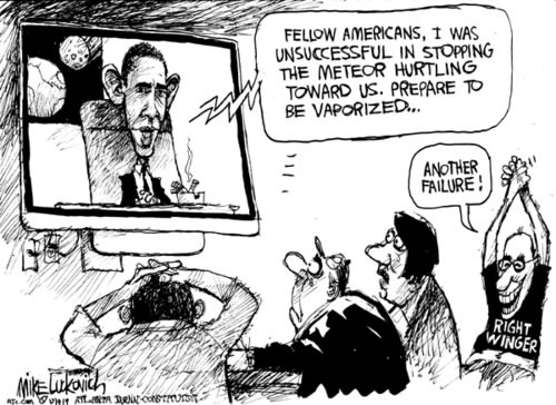 "Comic: Obama on TV announcing that they failed to destroy the asteroid hurtling towards Earth and a right-winger cheering: ""Another failure!"""