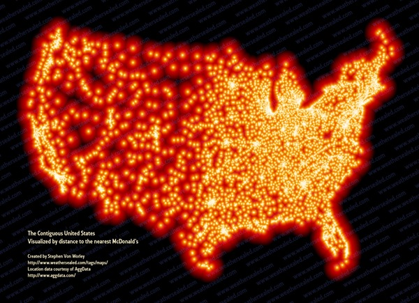 Map: The Contiguous United States Visualized by Distance to the Nearest McDonald's