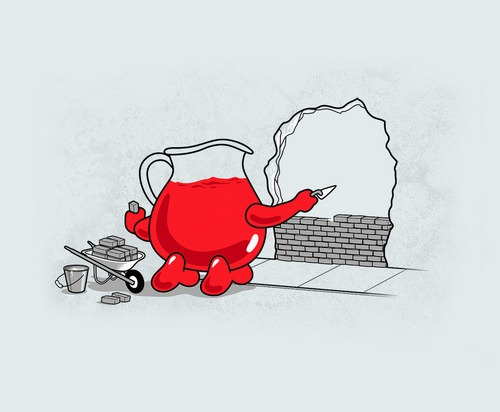 Kool-Aid Man laying bricks in a hole in a wall