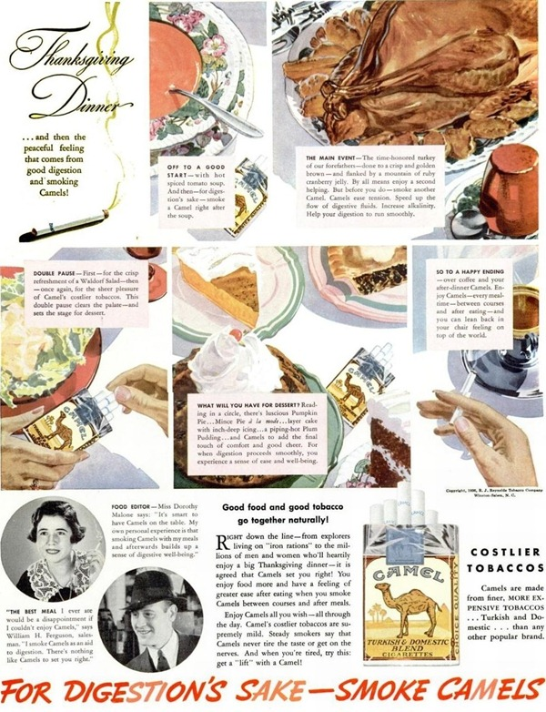Old ad showing how Camel cigarettes are an important part of Thanksgiving dinner