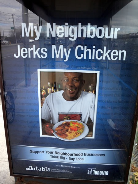 "Closeup of the ""My Neighbour Jerks My Chicken"" poster"