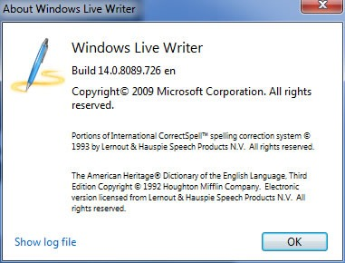 windows live writer about box