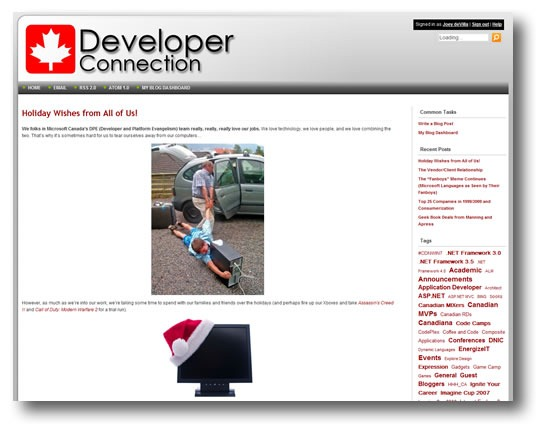 "Screenshot of the ""Canadian Developer Connection"" blog"