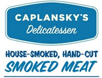 "Caplansky's delicatessen logo: ""Caplansky's Delicatessen. House-smoked, hand-cut smoked meat"""