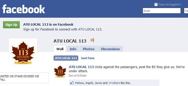 Screen shot of ATU Local 113's Facebook page