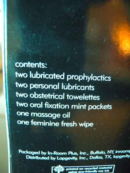 """Contents: two lubricated prophylactics, two personal lubricants, two obstectrical towelettes, two oral fixation mint packers, one massage oil, one feminine fresh wipe"""